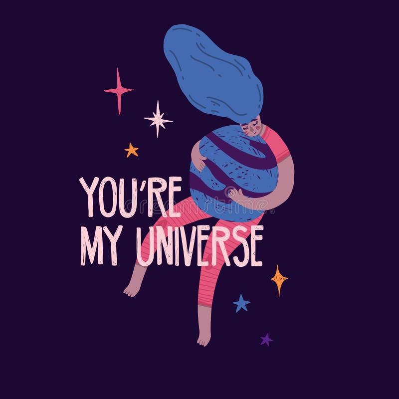 Leuke ontwerpbanner met mooi meisje die de planeet koesteren U bent mijn heelal het van letters voorzien Beeldverhaalillustratie  royalty-vrije illustratie