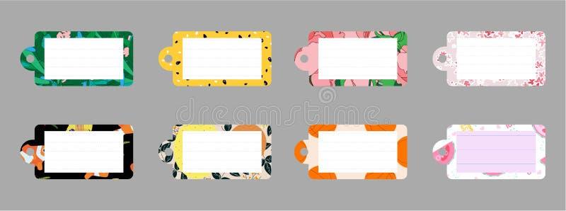 Leuke ontwerpelementen Inzameling van diverse notadocumenten Vlakke stijl Nota's, etiketten, stickers royalty-vrije illustratie
