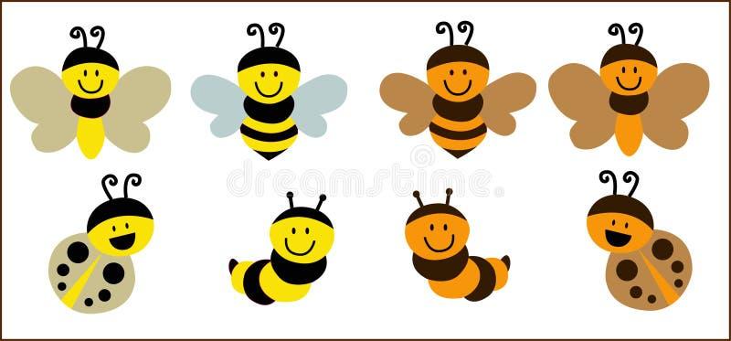 Leuke oranje Bijenvector royalty-vrije illustratie