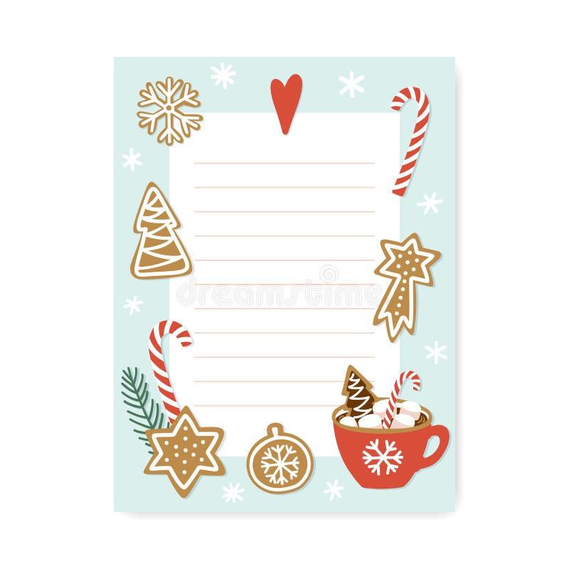 Leuke organisator met plaats voor nota's In Kerstmis om Lijst te doen stock illustratie