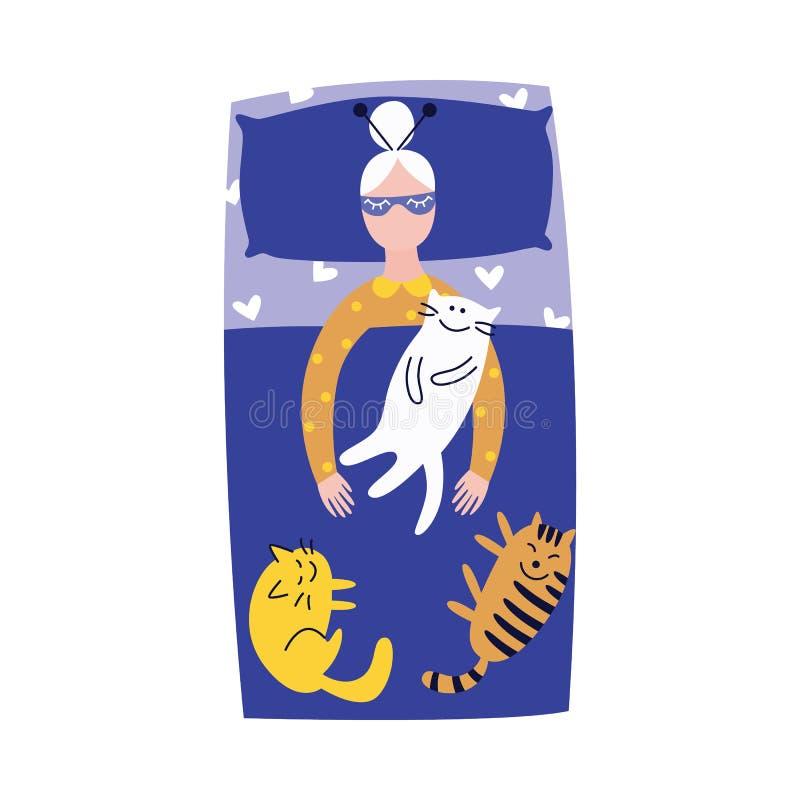 Leuke oude vrouwenslaap in haar bed met katten vector illustratie