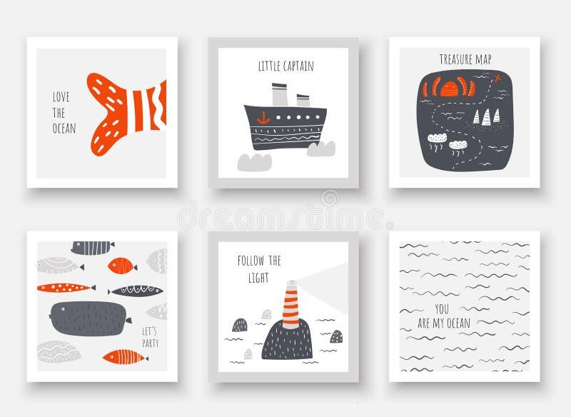 Leuke overzees, oceaanthemakaarten, prentbriefkaaren met vissen, schip, licht huis, schatkaart, golven, octopus stock illustratie