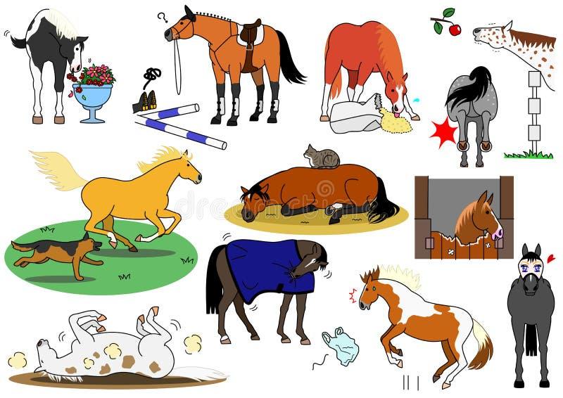 Leuke paarden stock illustratie