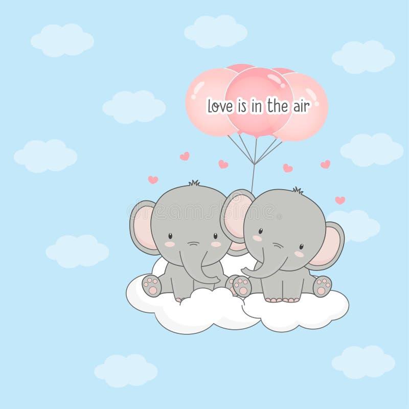 Leuke paarolifant met ballons vector illustratie