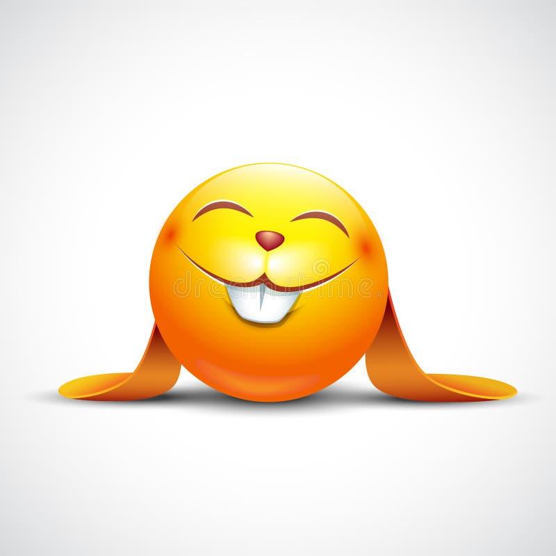 Leuke Paashaas emoticon, emoji - vectorillustratie royalty-vrije stock afbeelding
