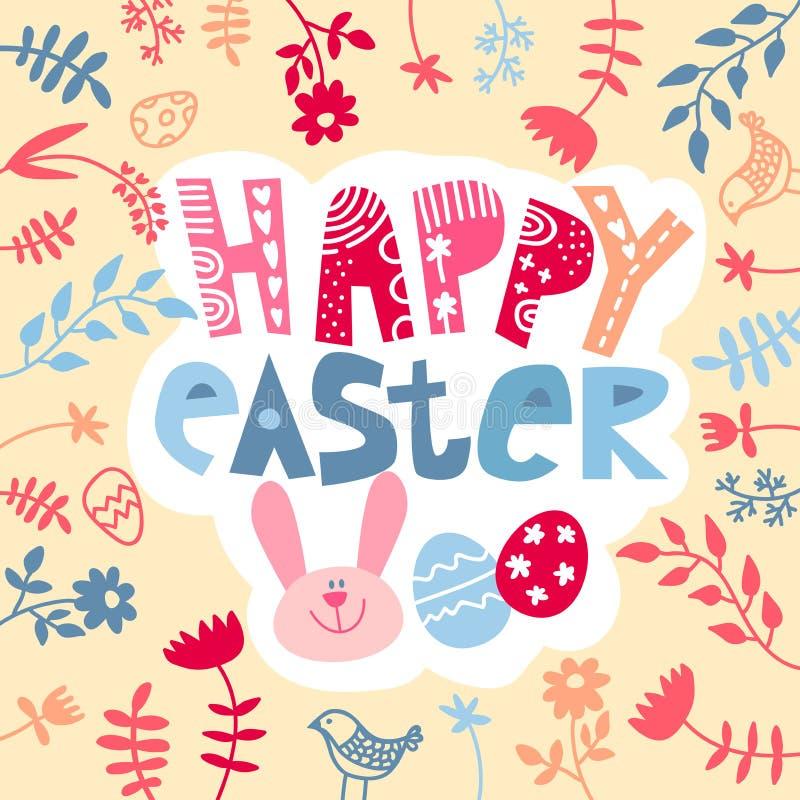 Leuke Paashaas met modieuze teksten op witte achtergrond met voor de viering van Christian Festival ?Gelukkige Pasen ? vector illustratie