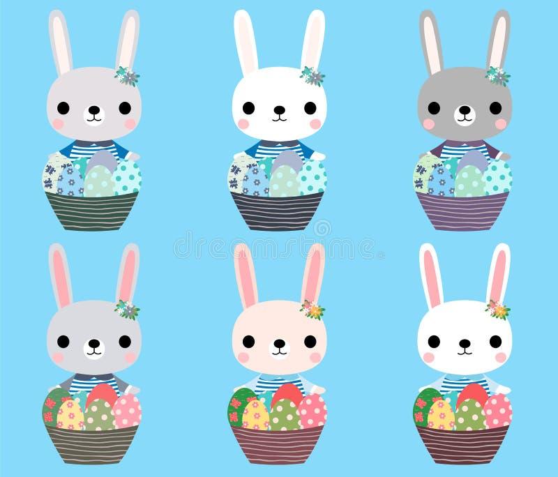 Leuke Paashazen met eieren stock illustratie
