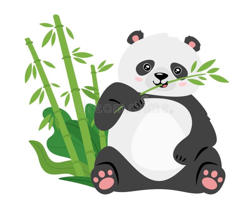 Leuke panda die de vlakke vectorillustratie van bamboestammen eten vector illustratie