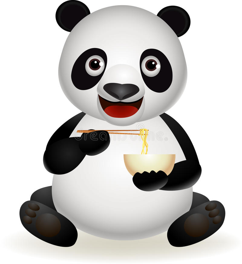 Leuke panda die noedel eet stock illustratie