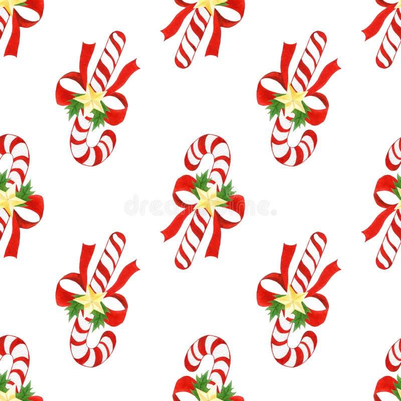Leuke patroon van waterverf het hand getrokken Kerstmis de naadloze achtergrond met suikergoedriet, bogen, gouden sterren en huls royalty-vrije illustratie
