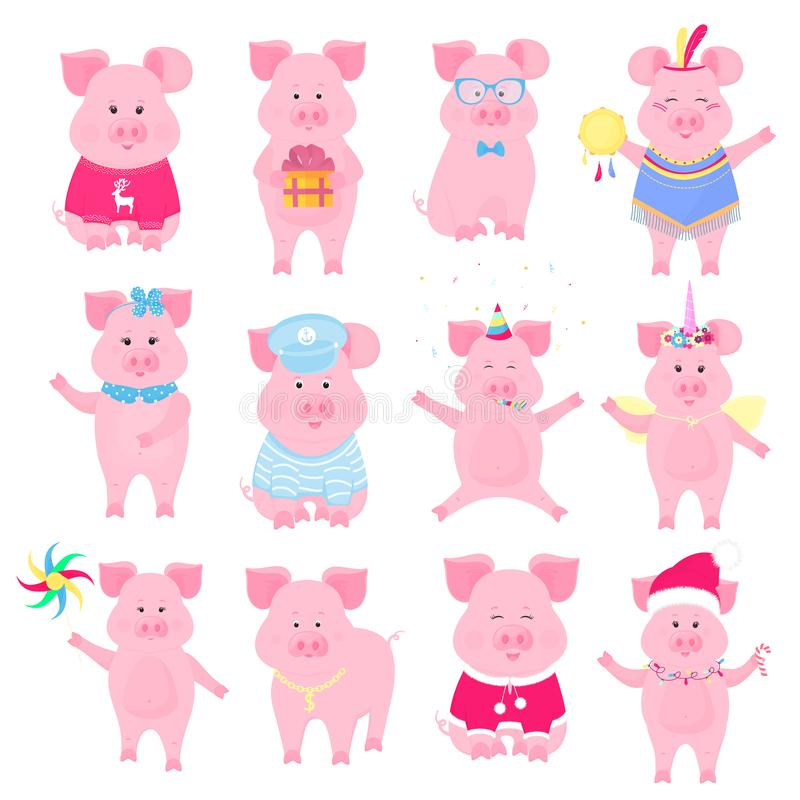 Leuke piggy in kostuums Eenhoorn, Santa Claus, Injun, zeeman, Grappig dier Chinees Nieuwjaar Leuk Varken royalty-vrije illustratie