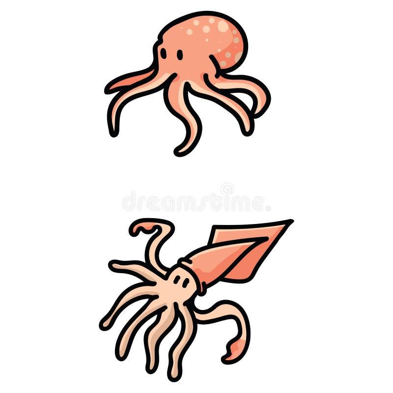 Leuke pijlinktvis en octopus vastgestelde het motiefreeks van de beeldverhaal vectorillustratie Hand getrokken ge?soleerde cefalo royalty-vrije illustratie