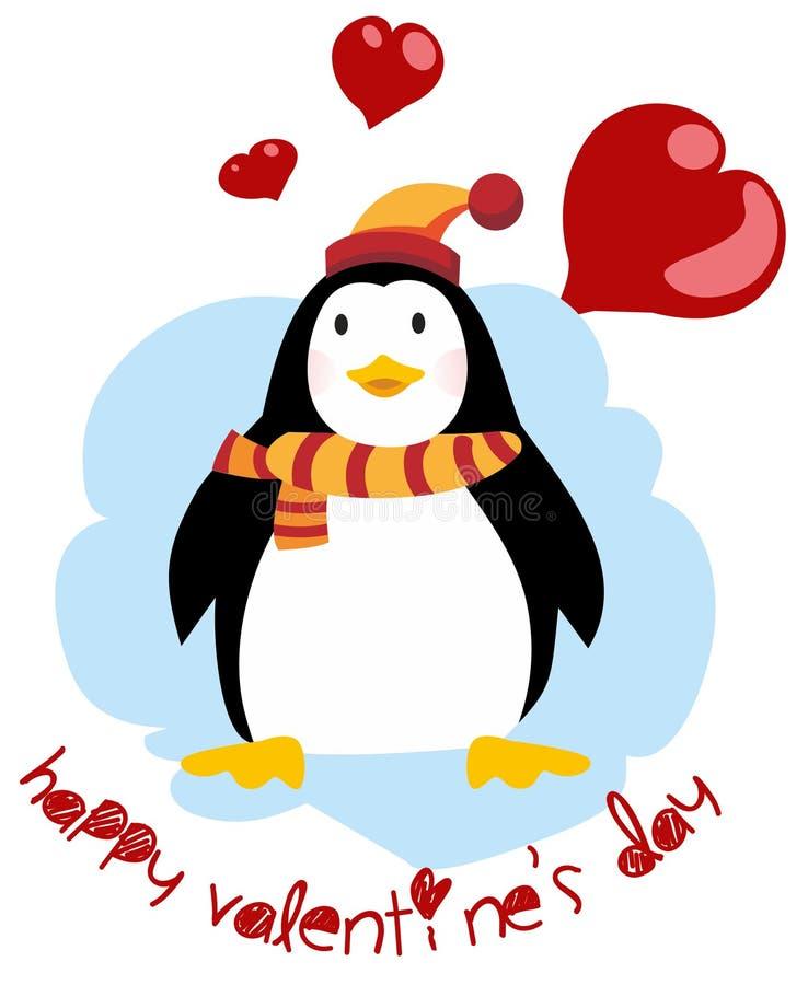 Leuke pinguïn - Gelukkige Valentijnskaartendag Prentbriefkaar voor de Dag van de Valentijnskaart `s royalty-vrije illustratie