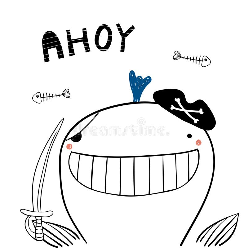 Leuke piraatwalvis vector illustratie