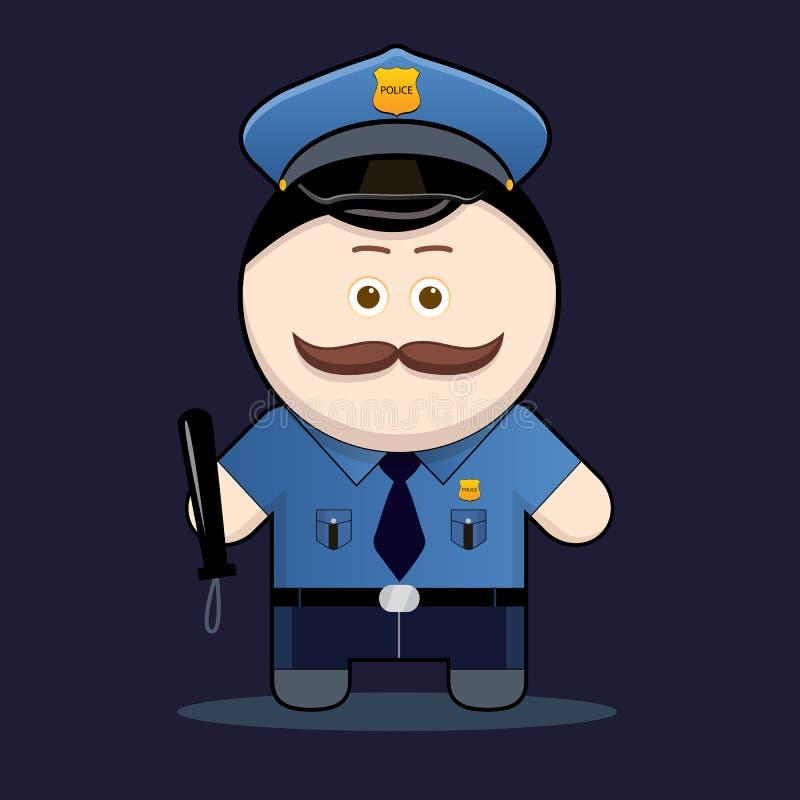 Download Leuke Politieagent Met Knuppel Vector Illustratie - Illustratie bestaande uit beroep, politieagent: 29506376