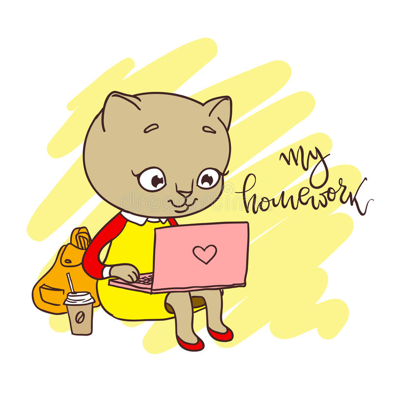 Leuke pot met laptop Inschrijving: mijn thuiswerk royalty-vrije illustratie
