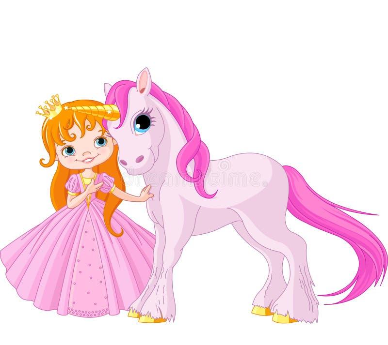 Leuke Prinses en Eenhoorn stock illustratie