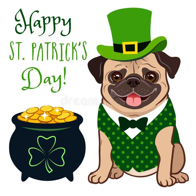 Leuke pug hond in St Patrick het kostuum van de Dagkabouter: groene die hoge zijden, vest en vlinderdas, pot van goud met muntstu royalty-vrije illustratie