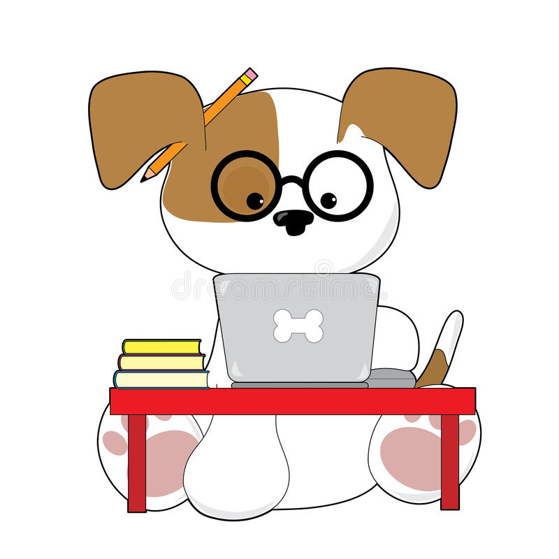 Leuke Puppy en Laptop vector illustratie