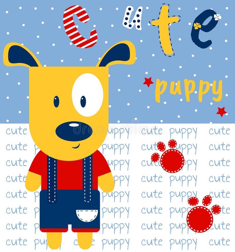 Leuke puppyhand getrokken vectorillustratie Kan voor druk, het ontwerp van babykleren, de uitnodigingskaart van de babydouche wor royalty-vrije illustratie
