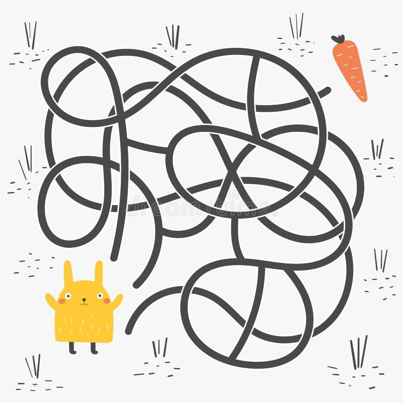 Leuke rebus, test, activiteit, logicazoektocht voor jonge geitjes Grappig labyrint, raadsel met konijn, wortel royalty-vrije illustratie