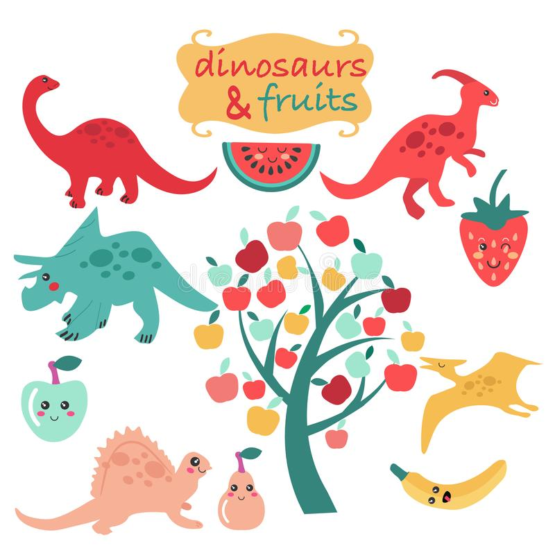 Leuke reeks dinosaurussen en vruchten stock illustratie