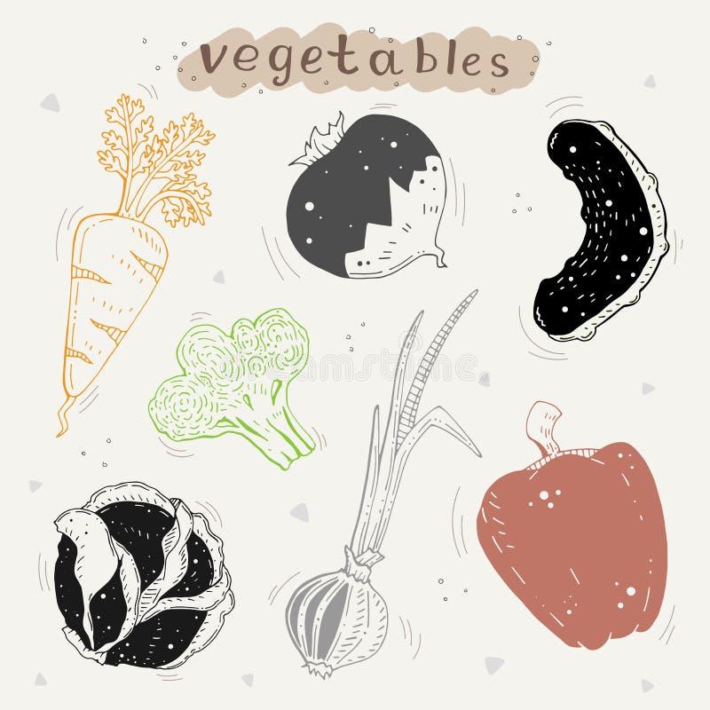Leuke reeks groenten op een neutrale achtergrond royalty-vrije illustratie