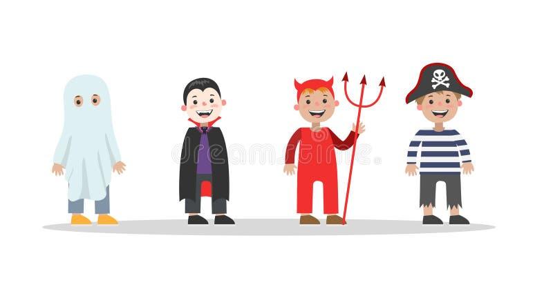 Leuke reeks Halloween-kostuums voor kinderen royalty-vrije illustratie
