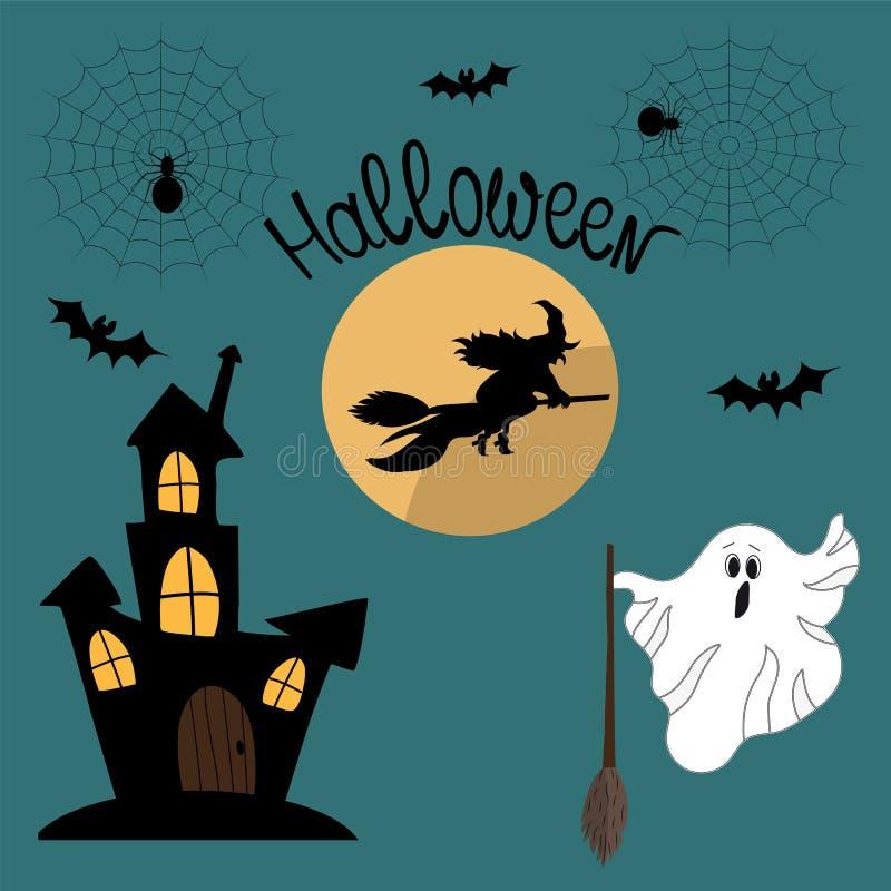 Leuke reeks met illustraties en Halloween-pictogrammen: heks, g vector illustratie