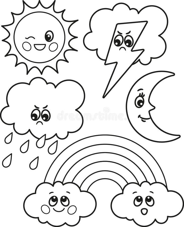 Leuke reeks pictogrammen van het beeldverhaalweer, vector zwart-witte pictogrammen, illustraties voor de kleuring van kinderen of stock illustratie