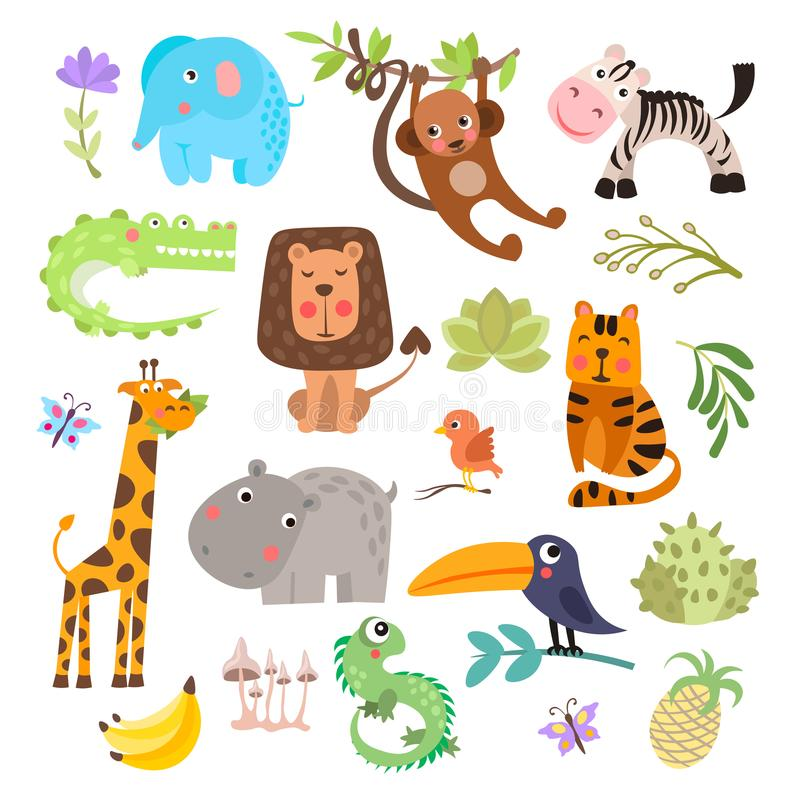 Leuke reeks safaridieren en bloemen Savanne en safari grappige beeldverhaaldieren De vectorreeks van wildernisdieren krokodil vector illustratie