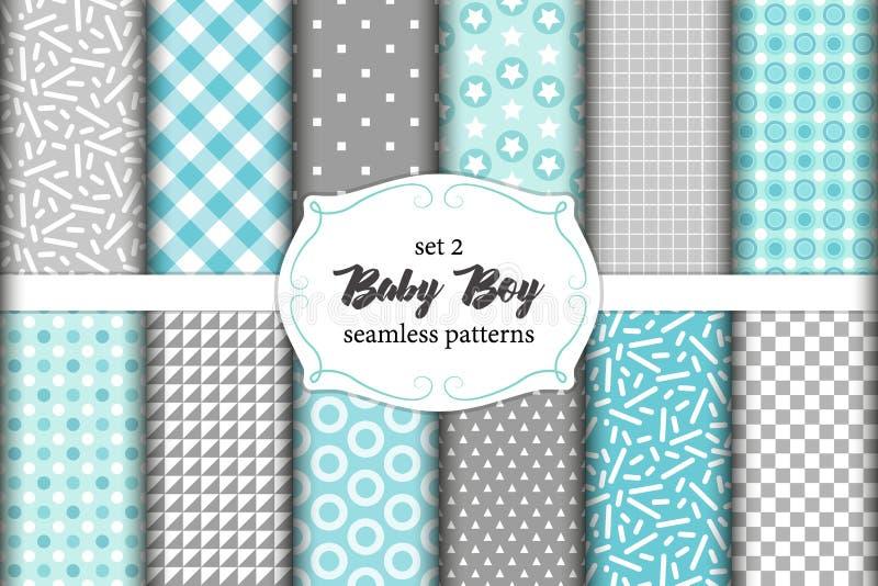 Leuke reeks Skandinavische naadloze patronen van de Babyjongen met stoffentexturen royalty-vrije illustratie
