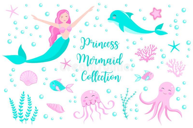 Leuke reeks van meerminprinses en dolfijn, octopus, vissen, kwallen, koraal Onderwaterwereldinzameling Vector eps10 vector illustratie