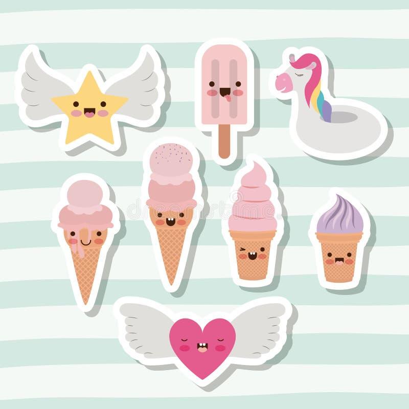 Leuke reeks van roomijs en ster en hart met vleugels en eenhoorn opblaasbaar stuk speelgoed met lijnen kleurrijke achtergrond vector illustratie