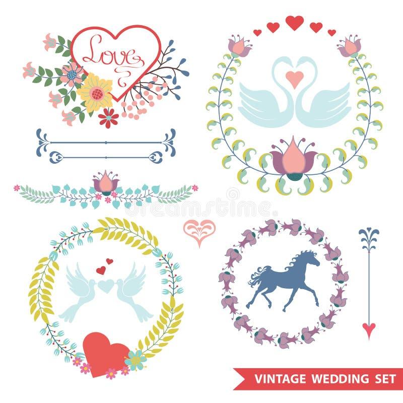 Leuke retro bloemenreeks met huwelijkspunten stock illustratie