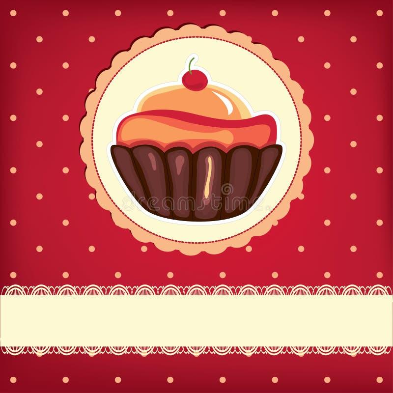 Leuke retro cupcake stock illustratie