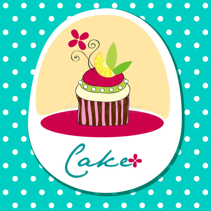 Leuke retro cupcakekaart royalty-vrije illustratie