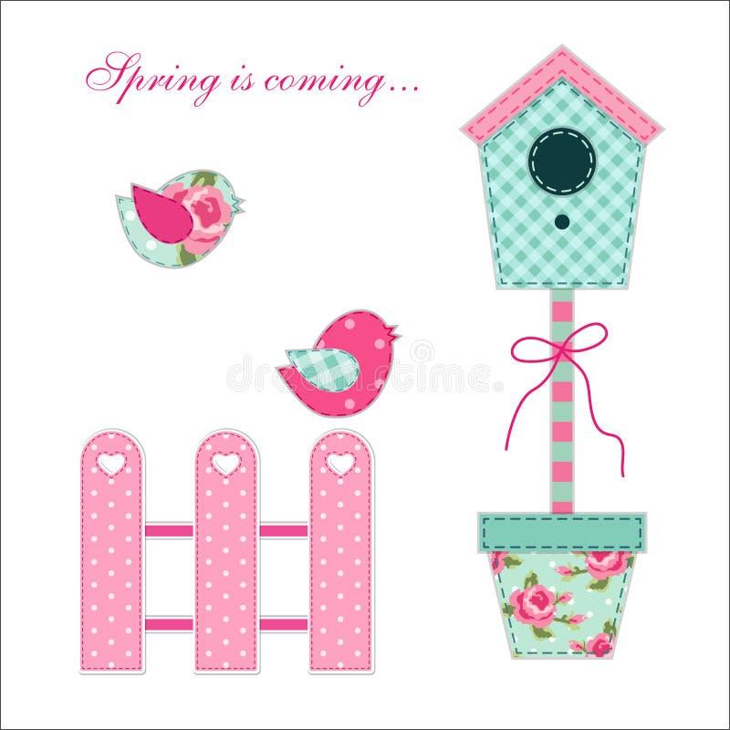 Leuke retro de lente en tuinelementen als stoffenflard applique van vogelhuis, bloemen in potten en vogels stock illustratie