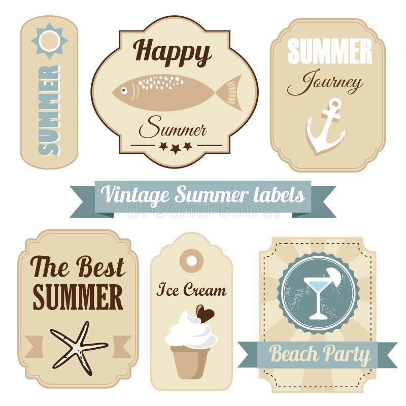 Leuke retro reeks etiketten van de de zomervakantie,  vector illustratie