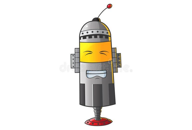 Leuke Robot die met gesloten ogen grijnzen stock illustratie