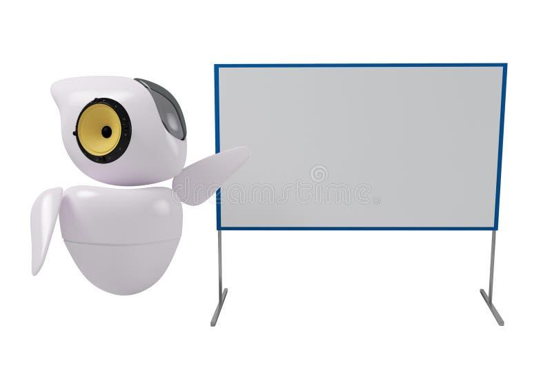 Leuke robot sc.i-FI bij het bord vector illustratie