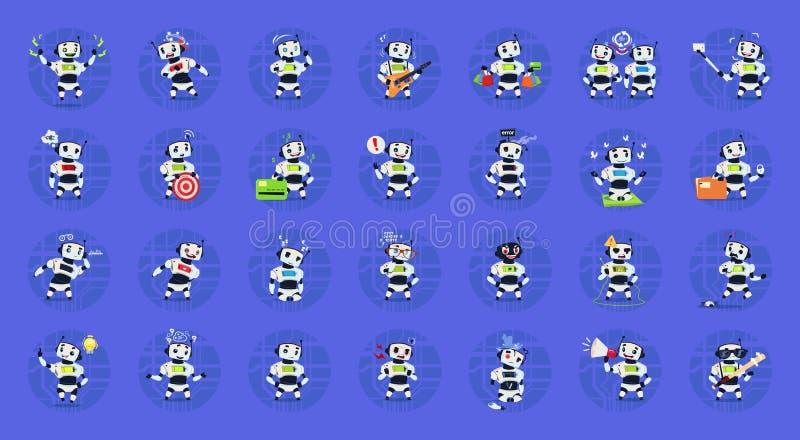 Leuke Robots Geplaatst Moderne Kunstmatige intelligentietechnologie Verschillend Cyborg-Inzamelingsconcept stock illustratie