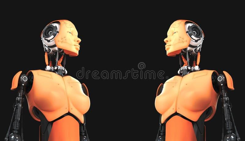 Leuke robotvrouwen op zwarte royalty-vrije illustratie