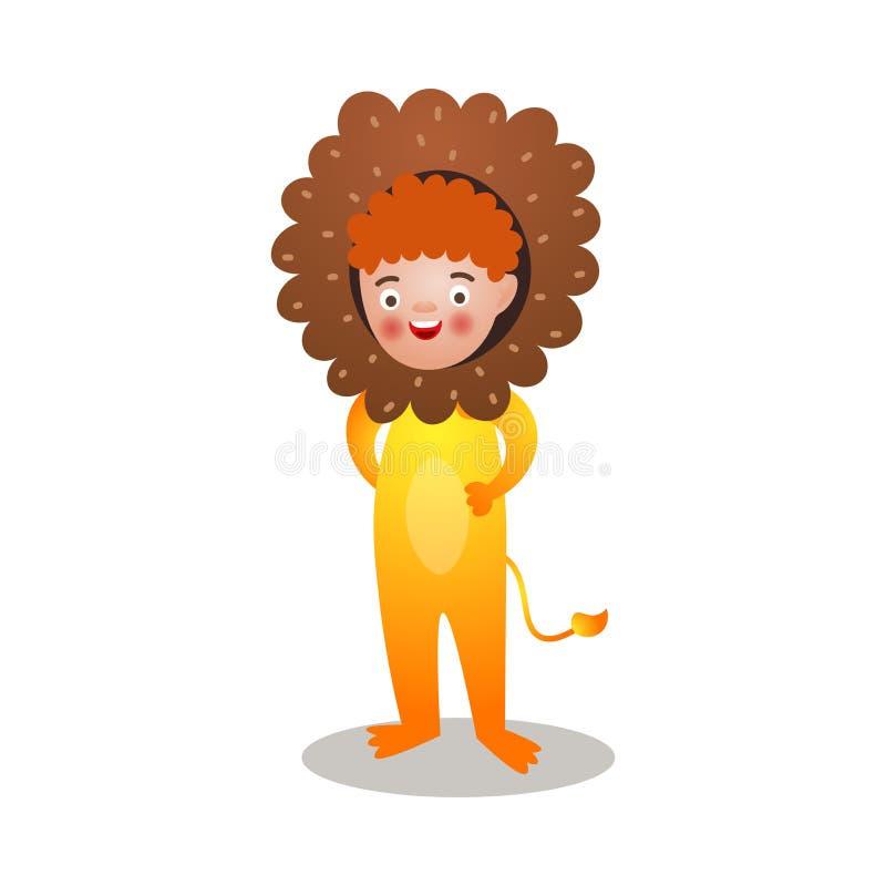 Leuke rode haar glimlachende jongen in het kostuum van de koningsleeuw vector illustratie