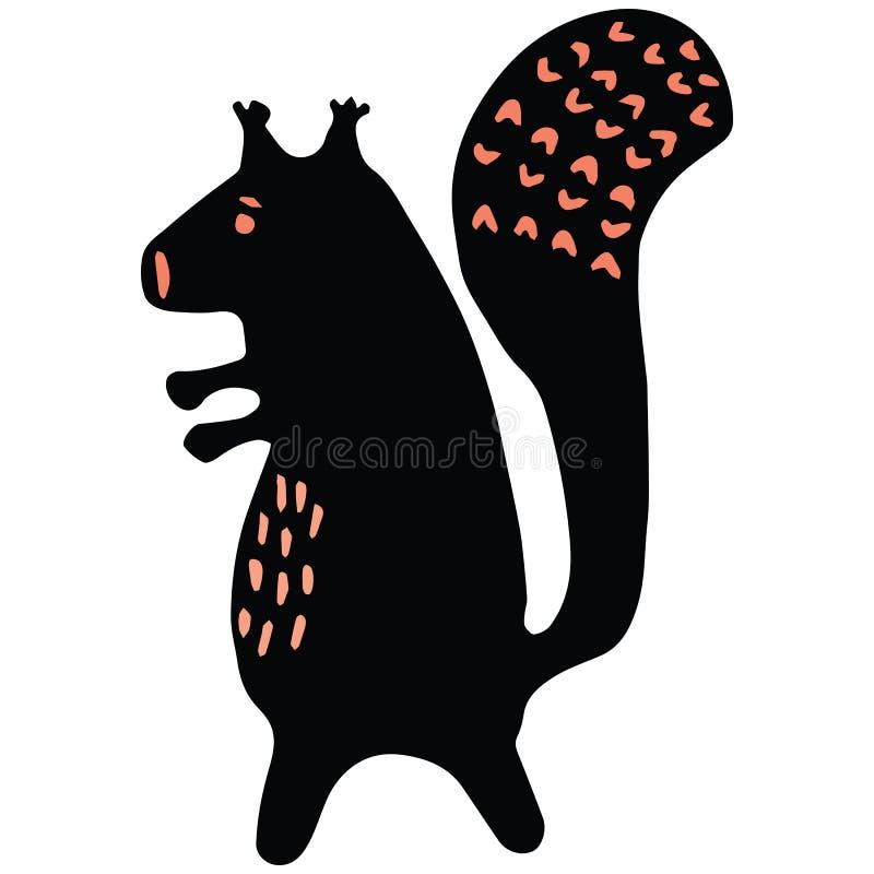 Leuke rode van de het beeldverhaal vectorillustratie van het eekhoornsilhouet het motiefreeks Hand getrokken gewaagde bos het wil vector illustratie