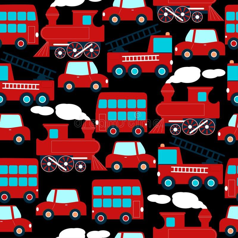 Leuke rode vervoerkinderen in een naadloos patroon stock illustratie