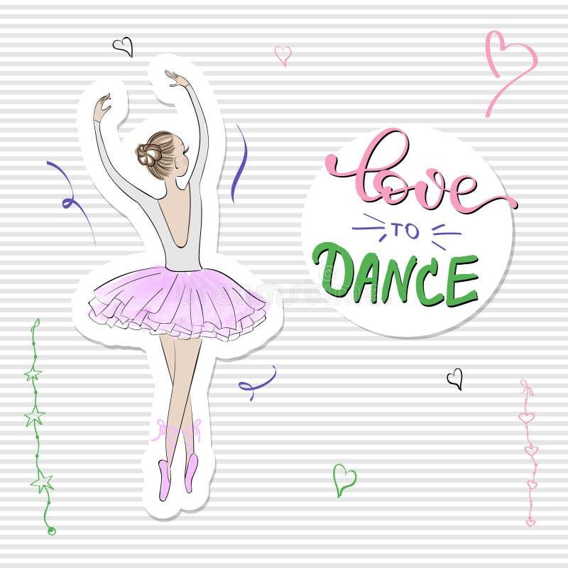 Leuke Romantische Ballerina met slogandruk royalty-vrije illustratie