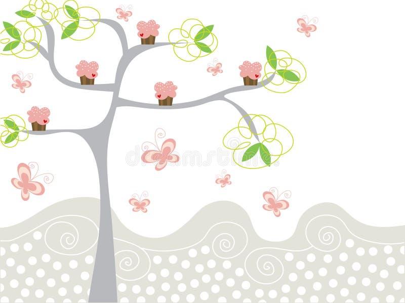 Leuke roze cupcakes op een boom vector illustratie