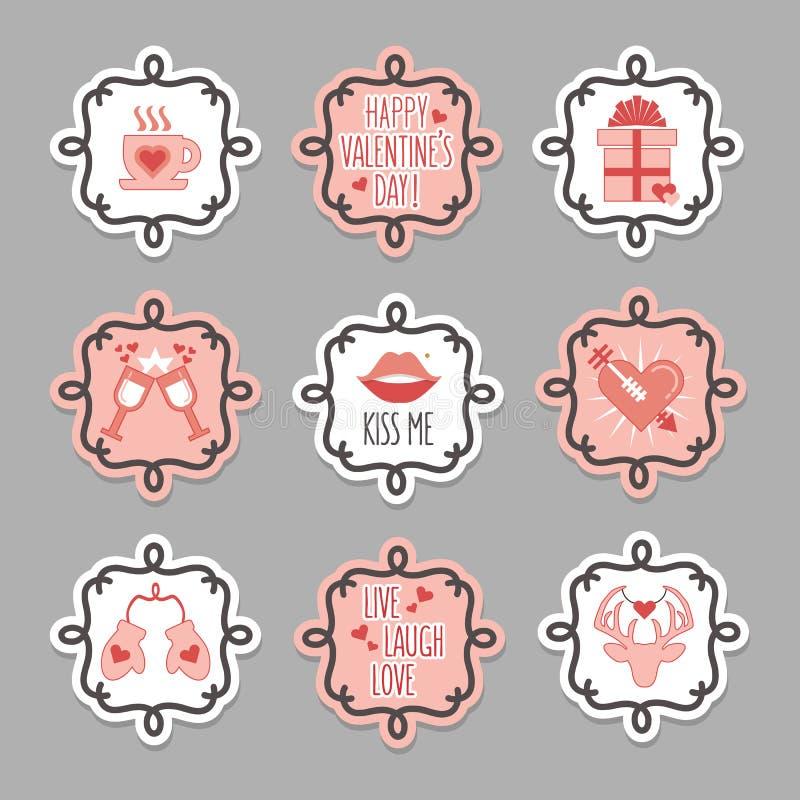 Leuke roze en witte liefde en van de valentijnskaartendag geplaatste markeringen royalty-vrije illustratie