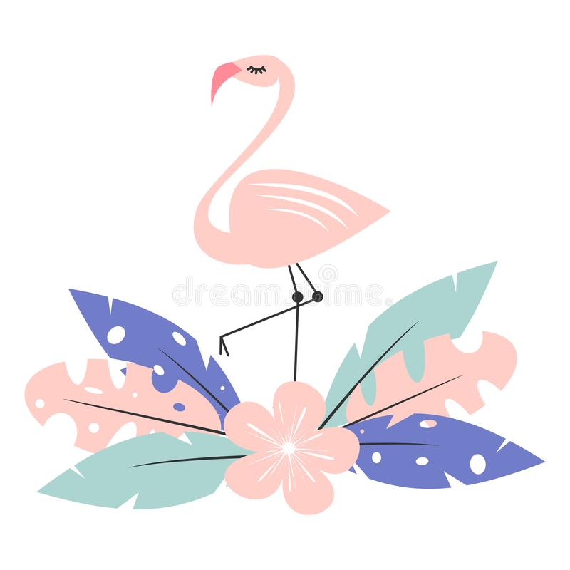 Leuke roze flamingo met exotische tropische bladeren en bloem vectordieillustratie op witte achtergrond worden geïsoleerd royalty-vrije illustratie